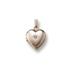 Kid's Jewelry to Love - Girls 14K Yellow Gold Small 12mm Diamond Heart Locket - Engravable on back - 15