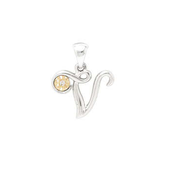 Girls Script Initial V - 14K Yellow Gold and Sterling Silver Diamond Pendant Children's Necklace - Includes 14