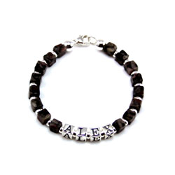 Alex - Boy's Personalized Gemstone Sterling Silver Name Bracelet/